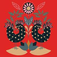 Floral folk art square pattern with birds vector