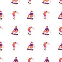 Stylish skater in jeans and sneakers seamless pattern vector