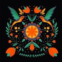 Folk art Scandinavian colourful pattern with flowers and birds vector