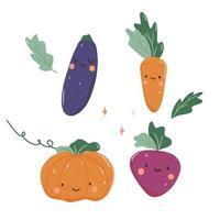 Hand drawn colored veggies vector