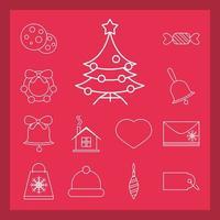 decoración navideña y celebración conjunto de iconos