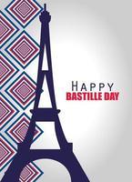banner de celebración del día de la bastilla con elementos franceses vector