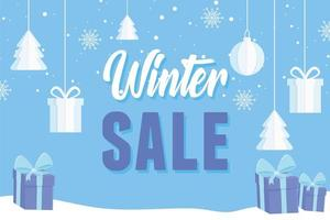 Winter sale and advertising banner with gift boxes vector