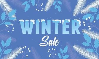 Winter sale and advertising banner with leaves
