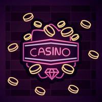 Casino neon light sign vector