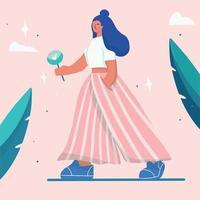 mujer joven caminando con flor en estilo plano de moda vector
