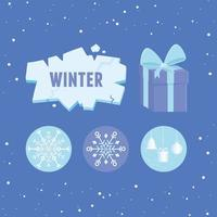 Cute winter icon collection