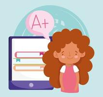 Online education with student girl and smartphone