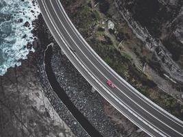 Aerial view of a road near the sea