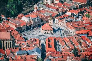 Aerial view of Brasov, Romania photo
