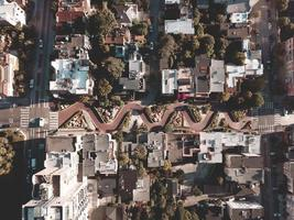 San Fransisco, CA 2018-Aerial view of famous Lombard Street
