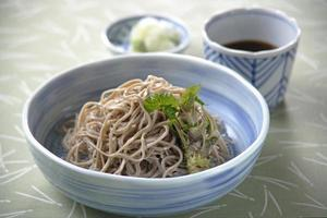 Chilled soba noodles photo