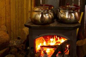 fireplace with teapot photo