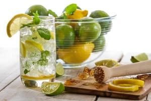 Closeup of cold drink with citrus