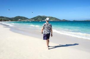 Man Walking on a Caribbean Beach