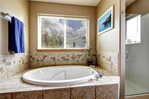 Whirlpool bath tub with tile trim photo