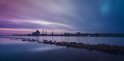 Peaceful river coast at night