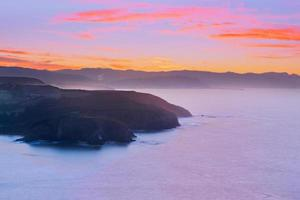 barrika coastline at sunset