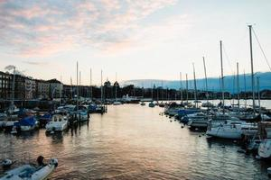 Golden Hour at Quai Gustave Ador, Geneva, Switzerland photo
