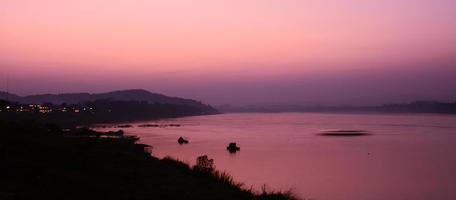 twilight of Khong river in Chaingkhan, Thailand