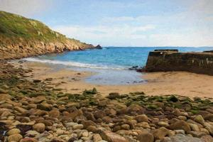 Lamorna beach and cove Cornwall UK illustration like oil painting