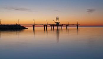 Burlington waterfront as sunrise comes on photo