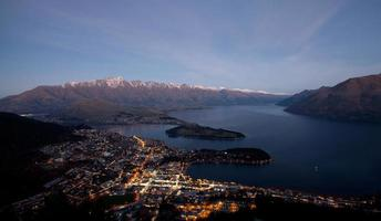 Beautiful evening light scenery of the Queenstown bay