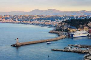 Bay of Nice with yachts and ferry