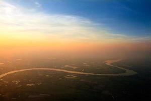 Aerial view of Ping River across paddy field, Chiang Mai