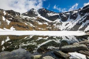 lago alta con reflejo de montañas