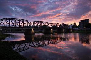 Iron bridge at sunrise moment