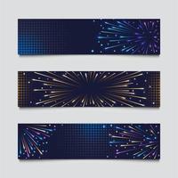 Set of Colorful Fireworks Banner vector