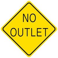 No Outlet yellow sign on white background vector