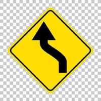 Yellow traffic warning sign on transparent background