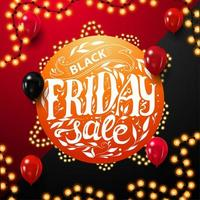Black Friday Sale, round orange discount coupon vector