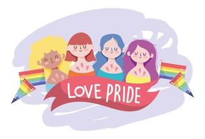 Cartoon LGBTQI characters for Pride celebration vector