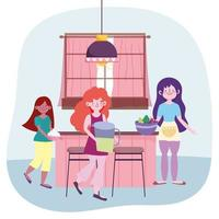 Women cooking food in the kitchen vector