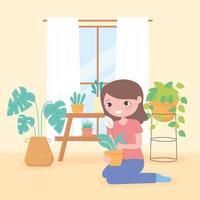 concepto de jardinería doméstica con niña y plantas en macetas