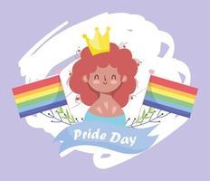 personaje lgbtqi de dibujos animados para la celebración del orgullo vector