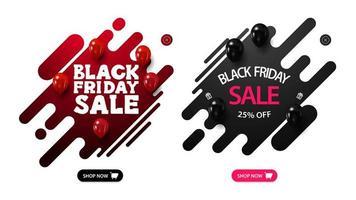 Set of Black Friday discount pop-ups vector