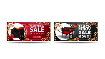 Black Friday Sale, up to 50 off banners vector