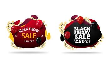 Black Friday discount banners with liquid shapes set