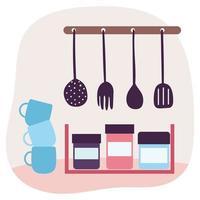 Kitchen utensils and interior vector