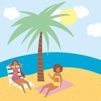 gente en la playa haciendo actividades de verano. vector