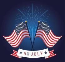 Banner de celebración del 4 de julio con fuegos artificiales y banderas.