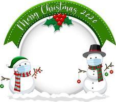 Banner de círculo en blanco con feliz navidad 2020 y máscara de muñeco de nieve vector