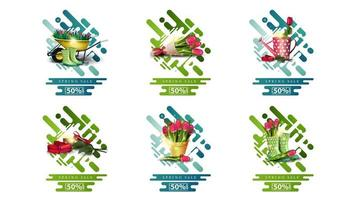 Spring sale, up to 50 off pop ups vector