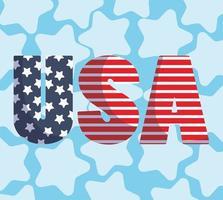 bandera festiva de estados unidos con letras