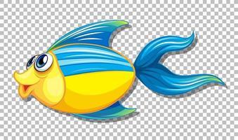 pez lindo con grandes ojos personaje de dibujos animados sobre fondo transparente vector
