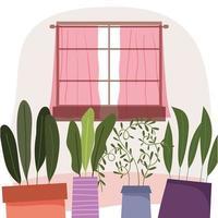 Plantas en macetas y decoración de ventanas interiores.